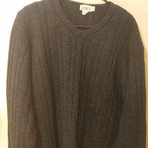 Men's J Crew 100% Wool V Neck Sweater Gray Size M